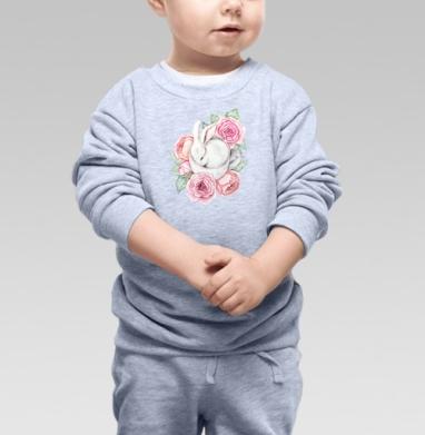 Белый кролик в чашке - Купить детские свитшоты нежность в Москве, цена детских свитшотов нежность  с прикольными принтами - магазин дизайнерской одежды MaryJane