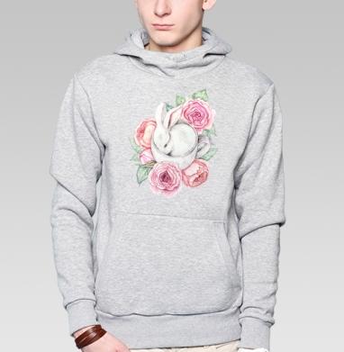 Белый кролик в чашке, Толстовка мужская, накладной карман серый меланж