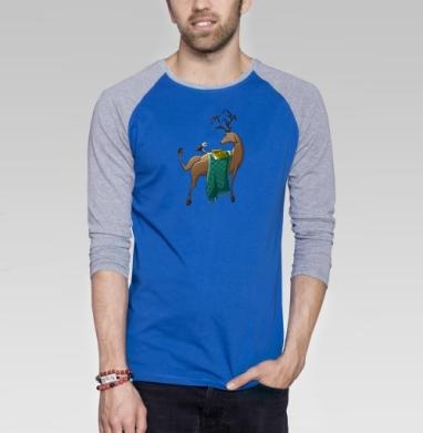 Февральский олень - Футболка мужская с длинным рукавом синий / серый меланж, Иллюстация