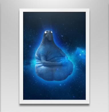 Космический Ждун - Постер в белой раме