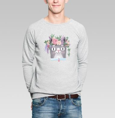 Весенний Кот Перкинс, Свитшот мужской без капюшона серый меланж