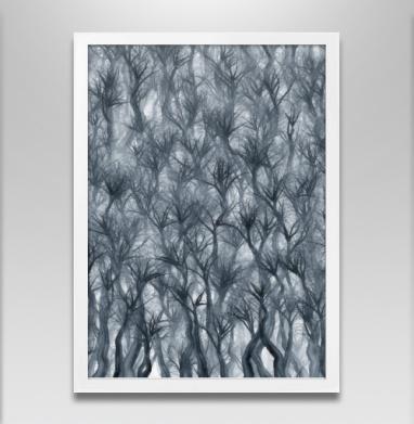 Туманный лес - Постер в белой раме, дым
