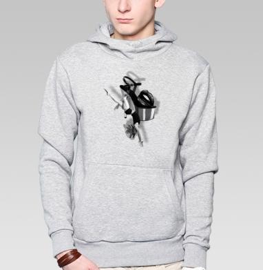 Толстовка мужская, накладной карман серый меланж - Коллаж Танец с цветком
