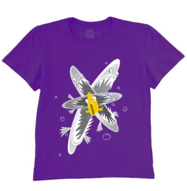 Футболка мужская темно-фиолетовая - Пираньи