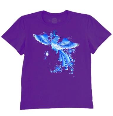 Футболка мужская темно-фиолетовая -  Синяя птица удачи в стиле гжельской росписи