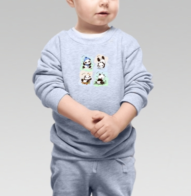 Пандочки  - Cвитшот Детский серый меланж, Новинки