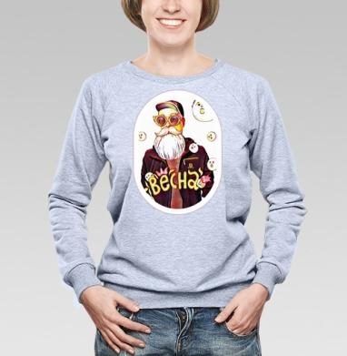 Cвитшот женский, толстовка без капюшона  серый меланж, свитшот серый меланж - Интернет магазин футболок №1 в Москве