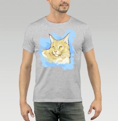 Футболка мужская серый меланж 200гр - Золотоглазый кот