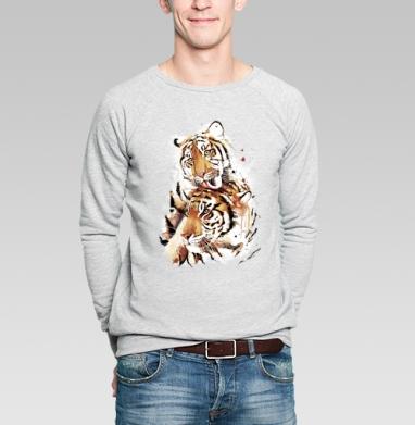 Влюбленные тигры - Купить мужские свитшоты с акварелью в Москве, цена мужских свитшотов с акварелью  с прикольными принтами - магазин дизайнерской одежды MaryJane