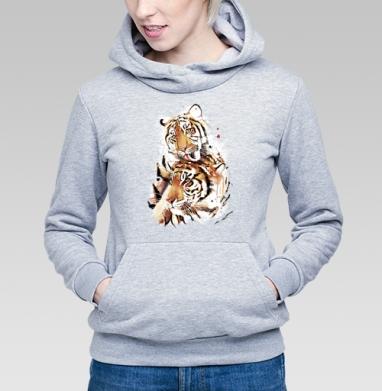 Влюбленные тигры - Купить детские толстовки с кошками в Москве, цена детских толстовок с кошками  с прикольными принтами - магазин дизайнерской одежды MaryJane