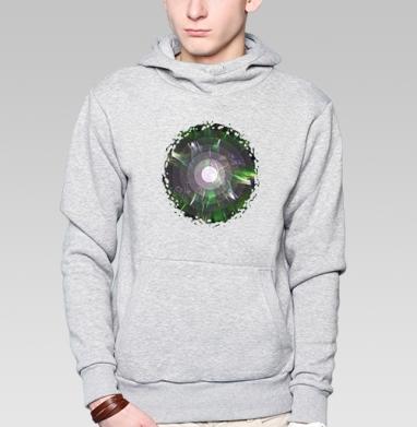 Толстовка мужская, накладной карман серый меланж - Биомикроволны