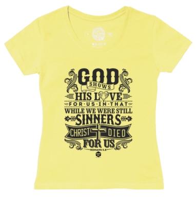 Футболка женская желтая - Бог явил любовь