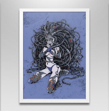 Кибер-девушка с дредами - Постер в белой раме, красота