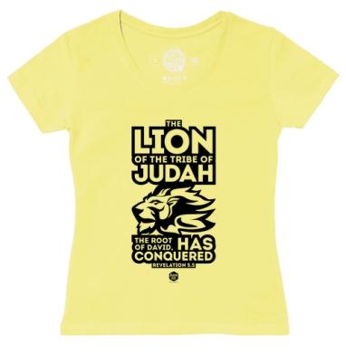Футболка женская желтая - Лев от колена Иудина