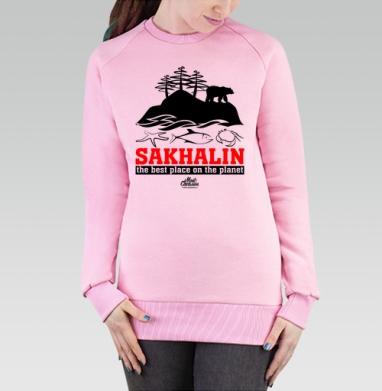 Cвитшот женский розовый  320гр, стандарт - Сахалин. Лучшее место на планете.