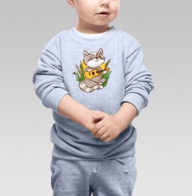 Котик гитарист - Купить детские свитшоты с природой в Москве, цена детских свитшотов с природой  с прикольными принтами - магазин дизайнерской одежды MaryJane
