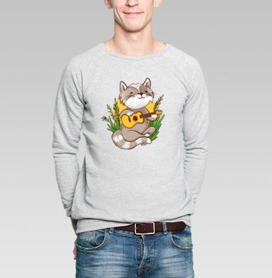 Котик гитарист - Купить мужские свитшоты с природой в Москве, цена мужских свитшотов с природой  с прикольными принтами - магазин дизайнерской одежды MaryJane