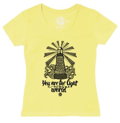 Футболка женская желтая - Вы свет мира