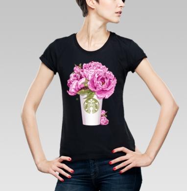 Футболка женская чёрная - Кофе и цветы