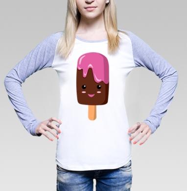 Мороженное няшка по имени Пинки, Футболка женская с длинным рукавом бело-серая