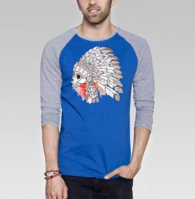 Индейский череп с перьями - Футболка мужская с длинным рукавом синий / серый меланж, череп, Популярные