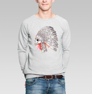 Индейский череп с перьями - Купить мужские свитшоты с илюстрациями в Москве, цена мужских свитшотов с илюстрациями  с прикольными принтами - магазин дизайнерской одежды MaryJane