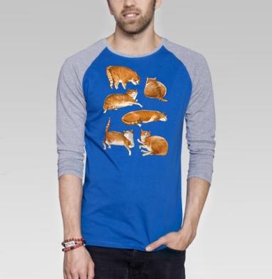 Паттерн с рыжими котами - Футболка мужская с длинным рукавом синий / серый меланж