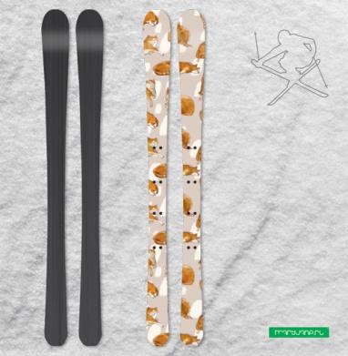 Паттерн с рыжими котами - Наклейки на лыжи