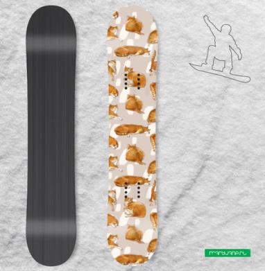 Паттерн с рыжими котами - Наклейки на доски - сноуборд, скейтборд, лыжи, кайтсерфинг, вэйк, серф