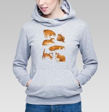 Паттерн с рыжими котами, Толстовка Женская серый меланж 340гр, теплая
