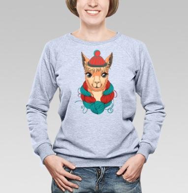 Портрет ламы в шапке и мотком ниток на шее - Купить детские свитшоты с персонажами в Москве, цена детских свитшотов с персонажами  с прикольными принтами - магазин дизайнерской одежды MaryJane