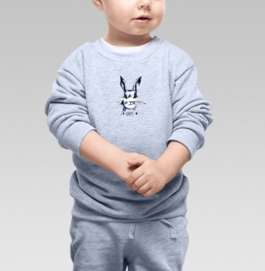 Серый зайка - Cвитшот Детский серый меланж, Новинки