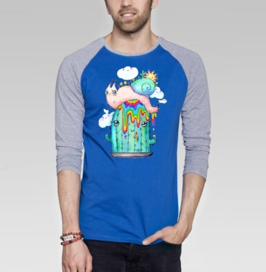 Улитка на кактусе - Футболка мужская с длинным рукавом синий / серый меланж, нежность, Популярные