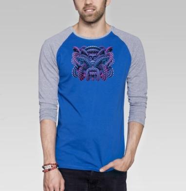 Ритуал - Футболка мужская с длинным рукавом синий / серый меланж, череп, Популярные