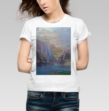 Замок в горах - Купить детские футболки с живописью в Москве, цена детских футболок с живописью  с прикольными принтами - магазин дизайнерской одежды MaryJane