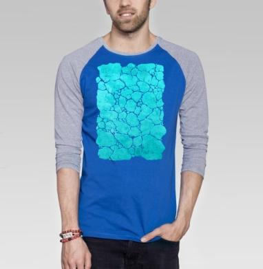 Бирюза минерал - Футболка мужская с длинным рукавом синий / серый меланж, красота, Популярные