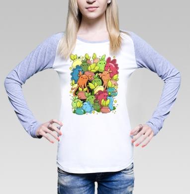 Монстрики с цветочками в горшочках, Футболка женская с длинным рукавом бело-серая