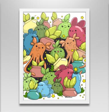Монстрики с цветочками в горшочках - Постеры, мужские, Популярные