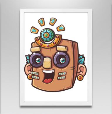 Тотемная маска, вектор - Постер в белой раме, этно