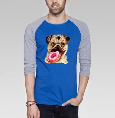 Мопс и пончик - Футболка мужская с длинным рукавом синий / серый меланж, Популярные, Страница 2