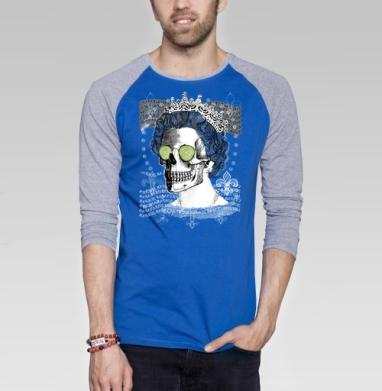 Череп в короне - Футболка мужская с длинным рукавом синий / серый меланж, череп, Популярные