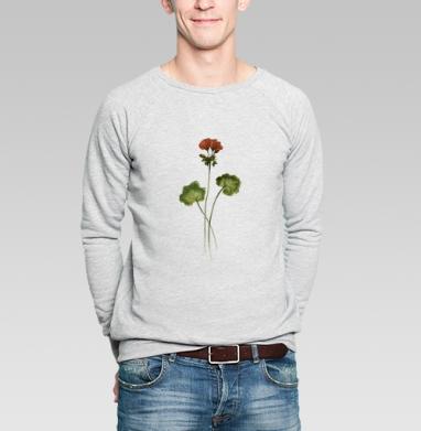Травинка Герань, Свитшот мужской серый-меланж  320гр, стандарт