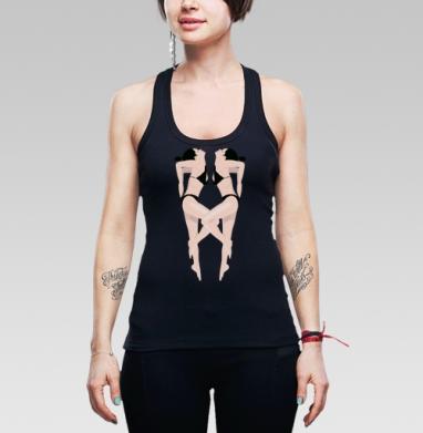 Я лежу на пляжу - Борцовка женская чёрная рибана 200гр, Магазин футболок AsyaSOLO