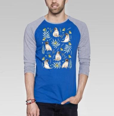 Мопсы - Футболка мужская с длинным рукавом синий / серый меланж, Бабочки