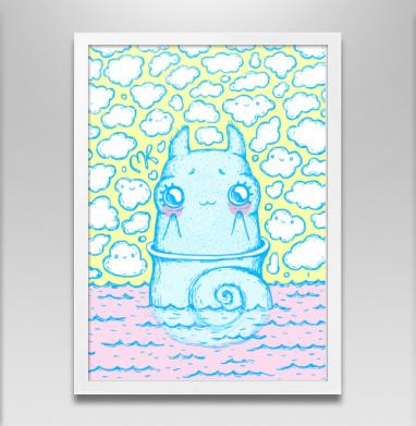 Улитка в облаках - Постер в белой раме, морская