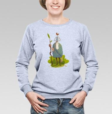 Леший с птицей - Купить женские свитшоты с природой в Москве, цена женских свитшотов с природой  с прикольными принтами - магазин дизайнерской одежды MaryJane