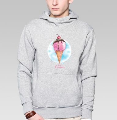 Фруктовое мороженко, Толстовка мужская, накладной карман серый меланж