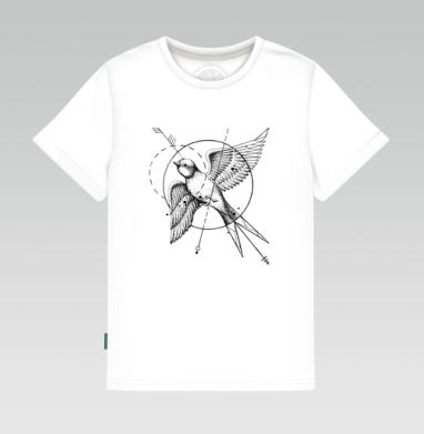 Ласточка в стиле тату, Детская футболка белая 160гр
