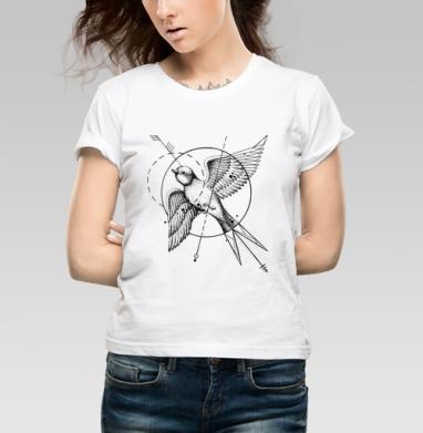 Ласточка в стиле тату - Купить детские футболки с геометрическим рисунком в Москве, цена детских футболок с геометрическим рисунком  с прикольными принтами - магазин дизайнерской одежды MaryJane