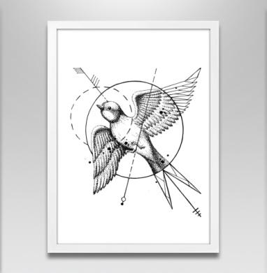 Ласточка в стиле тату - Постер в белой раме, татуировки